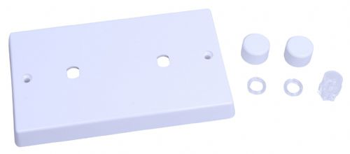 Varilight WQD2W White Plastic 2 Gang Dimmer Plate Only + Dimmer Knobs (Twin Plate)